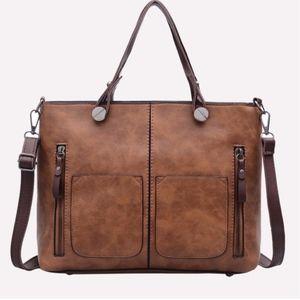 SHAI Zipper Details Tote Bag - BROWN